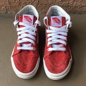 Kids Boys Vans Old Skool Red Shoes Size 1Y